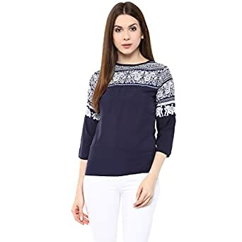 Mayra Women 39 S Crepe Top 1608t08463 Xl Navy Blue Amazon