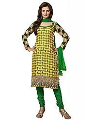 Yellow Cotton Resham With Patch Patti Dress Material - B00U2GI7F2