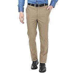 Zido Men'S Slim Fit Brown Formal Trouser_ZI15067_Brown