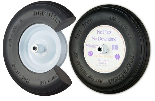 Marathon Industries 00001 4.80/4.00-8-Inch Flat Free Wheelbarrow Tire With Ribbed Tread - 15.5-Inch