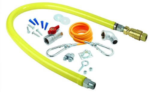 T&S Brass HG-4C-60K Gas Hose with Quick Disconnect, 1/2-Inch Npt, 60-Inch Long and Installation Kit