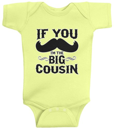 Threadrock Unisex Baby If You Mustache I'M The Big Cousin Bodysuit 6M Light Yellow