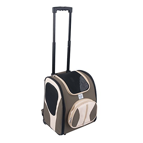 Bark and Meow Premium Pet Backpack Travel Carrier with Detachable Roller System and Silicone Pet Bowl for Dog and Cat DLC1001B