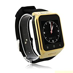 ZGPAX S8 Android 4.4 Dual Core Gear Smart Watch Phone Wrist Wrap Watch Phone,1.54inch LG Multi-point Touch Screen,3G WCDMA,Bluetooth 4.0,Bulit-in GPS,2M Camera (Golden)