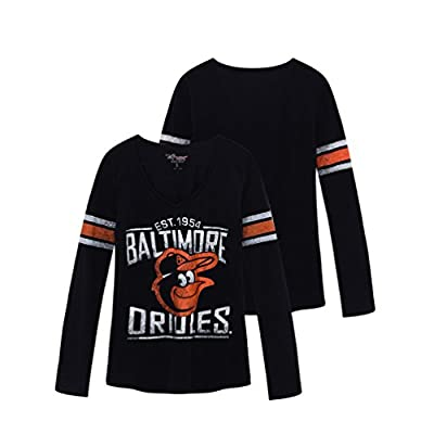 Womens MLB BALTIMORE ORIOLES Long Sleeve V-neck Tee T-shirt