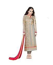 Amyra Women's Georgette Dress Material (AC787-07, Grey)
