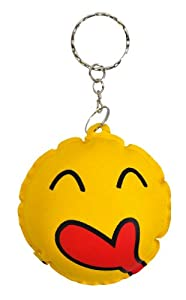 Yellow Smiley Face Keyring Novelty Keychain (4)