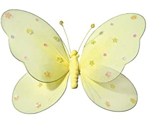 """Hanging Butterfly 14"""" Large Yellow Nylon Butterflies with Sequins and Glitter for Baby Nursery Bedroom, Girls Room Ceiling Wall Décor, Wedding Birthday Party, Baby Bridal Shower Butterfly Decoration"""