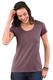 Fair Indigo Pima Organic Cotton Scoopneck Tee