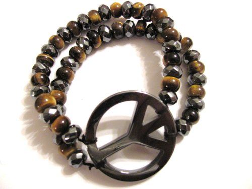 Black and Camel Hematite Peace Sign Bracelet