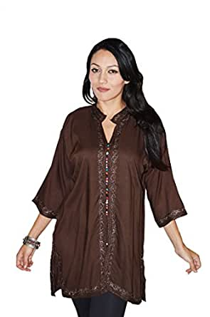 Moroccan Caftans Womens Marrakesh Tunic Dress X-Large Chocolate at
