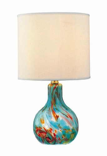 Lite Source Ls-20073Aqua Pepita Table Lamp, Aqua Glass With Fabric Shade front-1008815