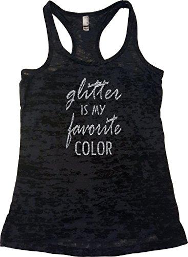 Orange Arrow Women's Dance Glitter Is My Favorite Color Burnout Tank (Small, Black)