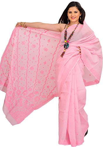 Exotic India Orchid-Pink Sari from Lucknow with Chikan Embroidery by Hand (Pink Indian Sari Adult Costume)