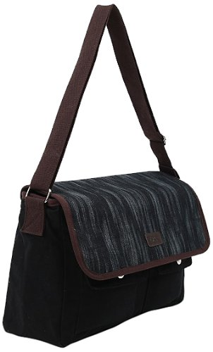 Sachi Canvas Messenger Tote, Style 195-259, Paint Brush
