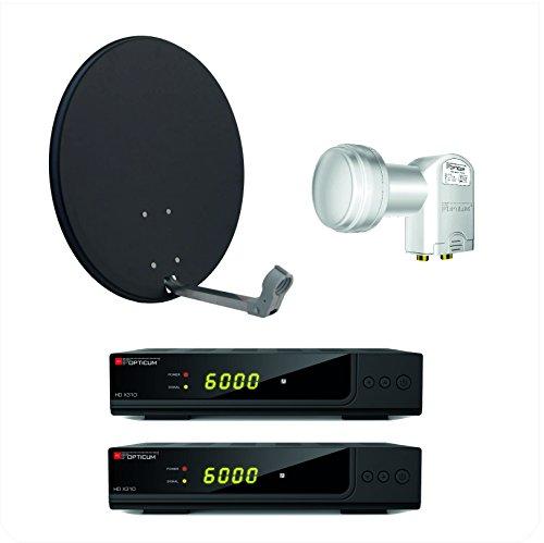 Opticum X310 digitale 2 Teilnehmer HD Anlage (X310 HD DVB-S2 Receiver, Twin LNB - LTP - 04H, X60 SAT Antenne mit Stahlrücken) anthrazit