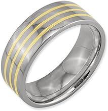 Bridal Titanium 14k Yellow Inlay Flat 8mm Polished Band