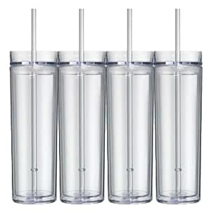 Amazon.com | 16oz Clear Acrylic Skinny Tumbler with Lid and Straw
