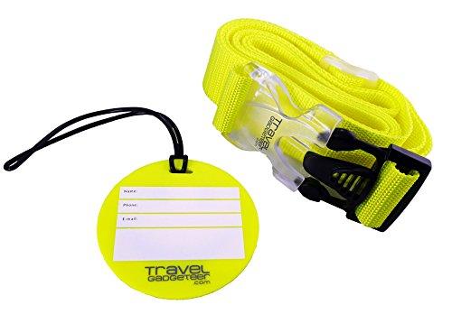 Cinghia per bagagli e targhetta identificazione da Travel Gadgeteer. Un accessorio personalizzato per una maggiore sicurezza ed una facile identificazione.