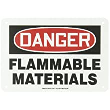 "Accuform Signs MCHL186VP Plastic Safety Sign, Legend ""DANGER FLAMMABLE MATERIALS"", 7"" Length x 10"" Width x 0.055"" Thickness, Red/Black on White"