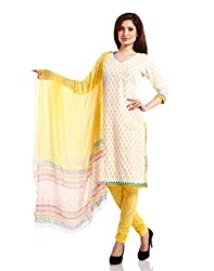 Pinkshink Womens Cotton Unstitched Salwar Suit Dress Material (Psk30 _White _Free Size)