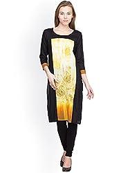 Panit Women's Cotton Kurta (PANI016_Black Yellow_X-Large)