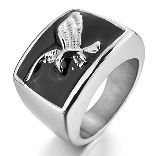 Men'S Stainless Steel Enamel Ring Silver Black Eagle Biker Polished Size8