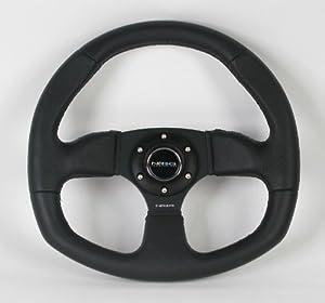 Amazon.com: NRG Steering Wheel - 09 (Flat Bottom) - 320mm (12.60 inches) - Black Leather / Oval