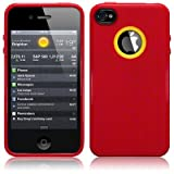 IPhone 4S / iPhone 4 Metal Texture TPU Gel Skin Case / Cover - Red Part Of The Qubits Accessories Range