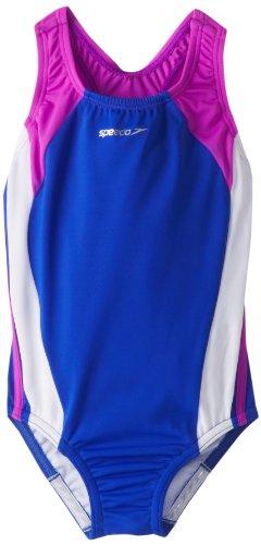Speedo Little Girls' Infinity Splice One-Piece Swimsuit, Electric -Purple, 4