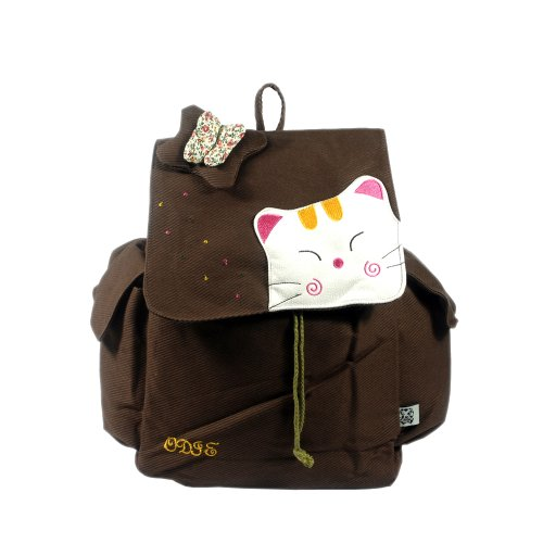 [Cat & Butterfly] 100% Cotton Fabric Art School Backpack / Outdoor Backpack