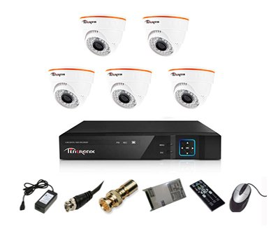 Tentronix T-8ACH-5-DA10 8-Channel AHD Dvr, 5(1MP/36IR) Dome Cameras (With Accessories)