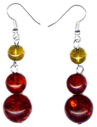 14 mm Beads Amber Earrings and 925 sterling silver hooks