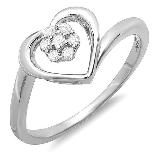 0.10 Carat (ctw) Sterling Silver Round Cut Real Diamond Flower Cluster Open Heart Swirl Promise Ring