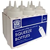 Bakers & ChefsTM Translucent White Plastic Squeeze Bottles - 16 oz. - 6 pk.
