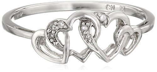 White-Gold Diamond Heart Ring (0.02cttw, G-H Color, I2-I3 Clarity), Size 8