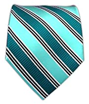 100% Silk Woven Green Teal and Aqua Striped Tie