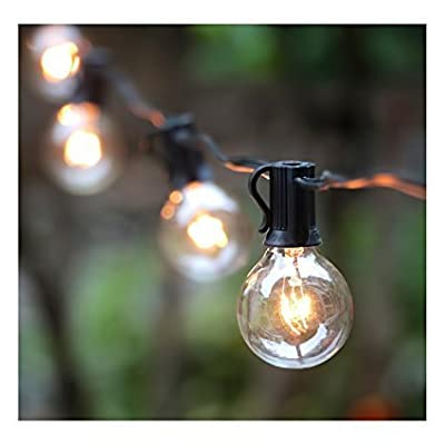 25Ft G40 Globe String Light with Clear Bulbs, UL listed Backyard Patio Lights, Hanging Indoor/Outdoor String Light for Bistro Pergola Deckyard Tents Market Cafe Gazebo Porch Letters Party Decor, Black