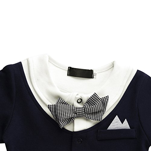 Baby Boy Romper 1pcs Toddler Outfit Clothing Set Tuxedo Jumpsuit & Bowtie Pants