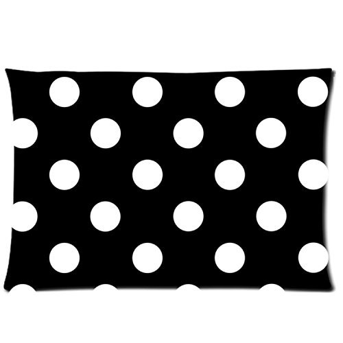 Polka Dot Black and White Custom Zippered Bed Pillow Cases 20x30 (Twin sides) Fabric Cotton and Polyester