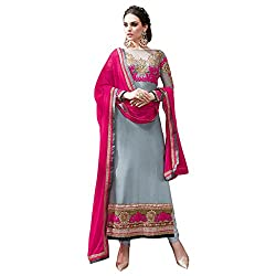 Look N Buy women's Fancy Grey Coloured Embroidered Unstitched Georgette Dress Material With Dupatta
