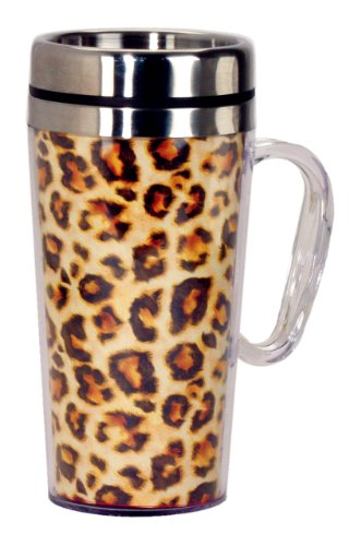 Spoontiques Leopard Insulated Travel Mug, Gold
