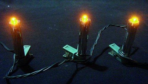 LED Weihnachtsbaum-Lichterkette, 20-teilig, silberne Kerzen, gelbe LEDs