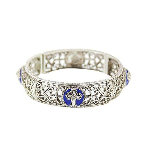 Vatican Sapphire Blue Cross Stretch Bracelet