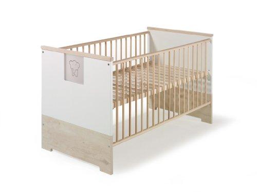 schardt eco slide kinderbett dekor lancelot eiche und weiss plexiglas einsatz mit elefanten. Black Bedroom Furniture Sets. Home Design Ideas