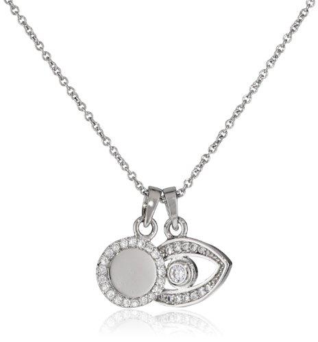 """Carolee """"Little Loves"""" Silver Evil Eye Necklace, 18"""""""