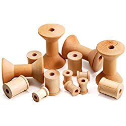 Hygloss 9570 Unfinished Wood Spools, Natural, Set of 72