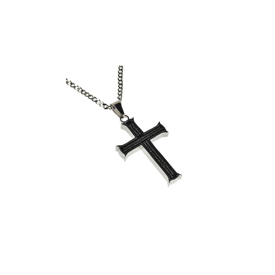 Christian Mens Stainless Steel Love 1 Corinthians 134 8 Iron Cross Purity Necklace   20 Curb Chain