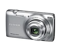 Fujifilm FinePix JZ100 14MP Point and Shoot Camera (Silver) with 8x Optical Zoom, Memory Card and Camera Case