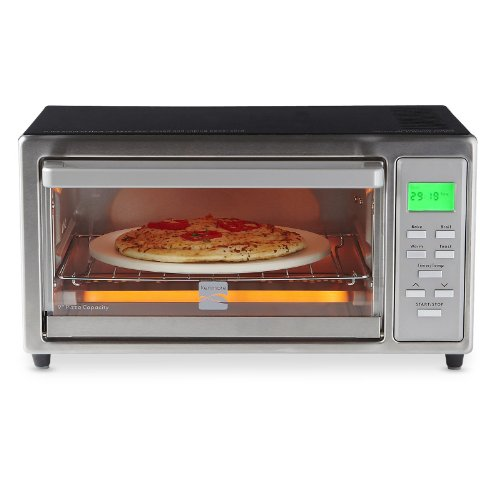 """Kenmore 4 Slice Digital Toaster Oven With 9"""" Ceramic Pizza Stone - Stainless Steel"""